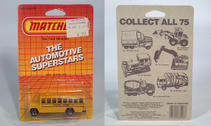 matchbox international ltd mb 47 1986 automotive superstars school district 2 bus die cast scale model toy